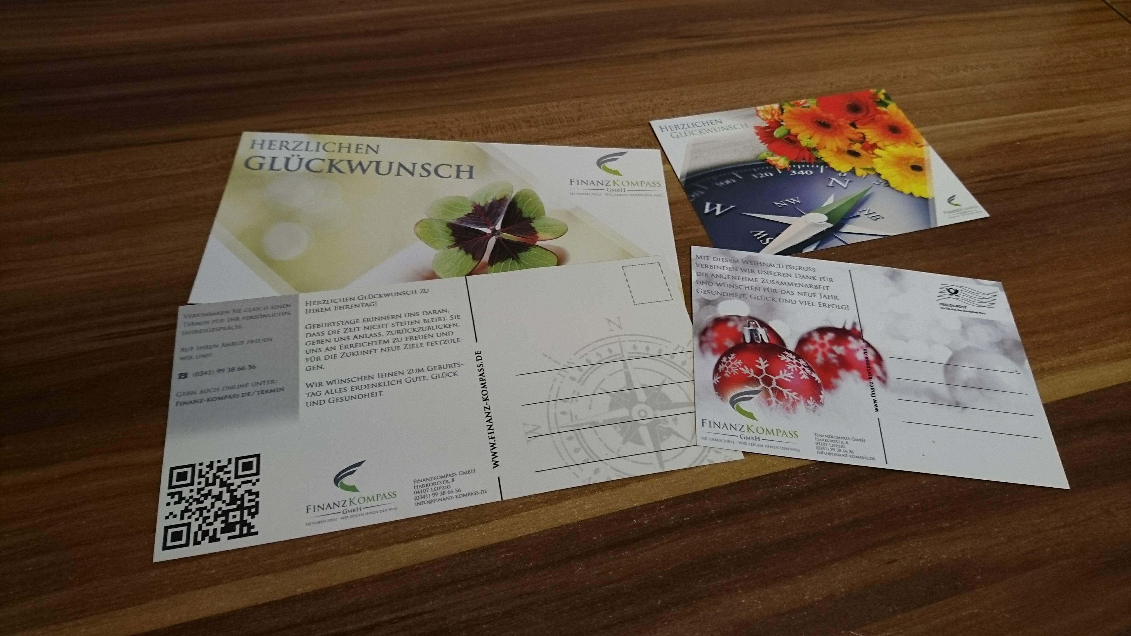 Finanz Kompass GmbH - Gestaltung Glückwunschkarten, Postkarten Design DIN A6