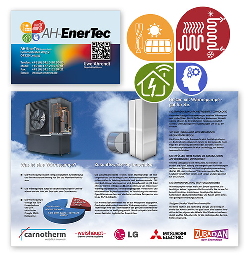 AH-Enertec - DIN lang Flyer Gestaltung, Visitenkarte, Logodesign