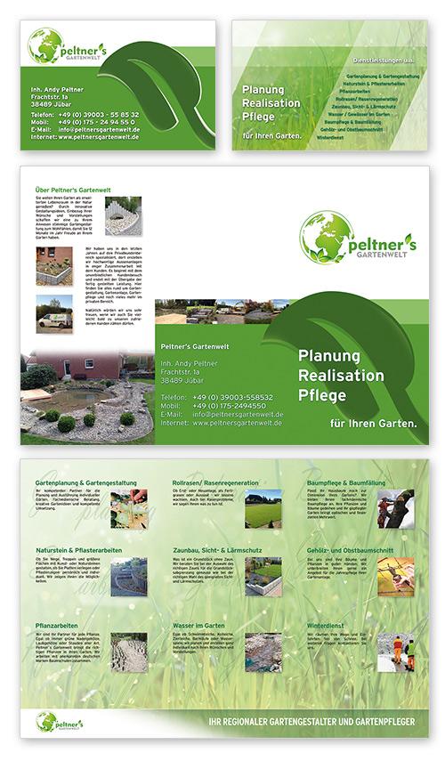 Peltner's Gartenwelt - Gestaltung Visitenkarten, Flyerdesign DIN lang, Logodesign