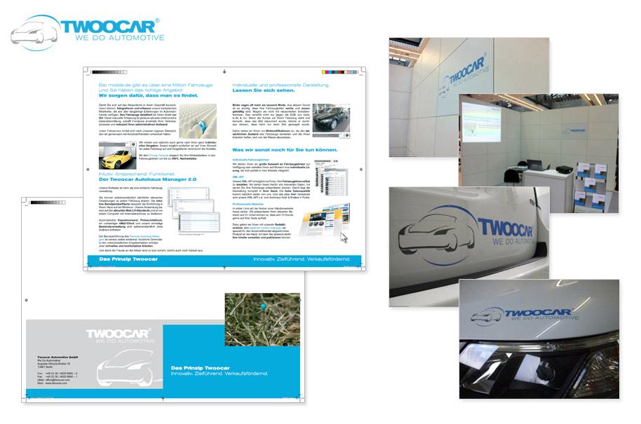 Twoocar Automotive GmbH - Unternehmensprospekt, Flatblatt, Folder DIN A4 Gestaltung, Logodesign